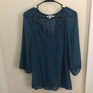 3/4 Sleeves Turquoise Blouse Size XL
